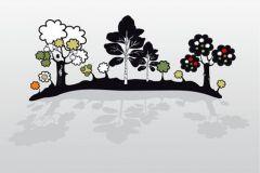DM204-2 cikkszámú tapéta.Absztrakt,gyerek,rajzolt,tájkép,természeti mintás,fehér,fekete,szürke,zöld,gyengén mosható,vlies poszter, fotótapéta