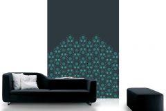 DM205-1 cikkszámú tapéta.Absztrakt,geometriai mintás,gyöngyös,különleges motívumos,metál-fényes,rajzolt,retro,fekete,kék,türkiz,zöld,gyengén mosható,vlies poszter, fotótapéta