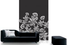 DM207-2 cikkszámú tapéta.Csipke,különleges motívumos,rajzolt,textilmintás,virágmintás,fehér,fekete,gyengén mosható,vlies poszter, fotótapéta
