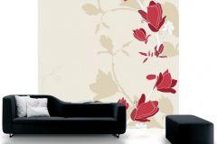 DM209-1 cikkszámú tapéta.Rajzolt,retro,természeti mintás,virágmintás,bézs-drapp,fehér,piros-bordó,gyengén mosható,vlies poszter, fotótapéta