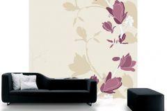 DM209-2 cikkszámú tapéta.Különleges motívumos,rajzolt,retro,virágmintás,bézs-drapp,fehér,lila,gyengén mosható,vlies poszter, fotótapéta