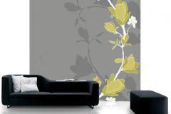 DM209-3 cikkszámú tapéta.Különleges motívumos,rajzolt,természeti mintás,virágmintás,fehér,sárga,szürke,gyengén mosható,vlies poszter, fotótapéta