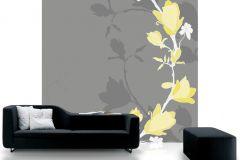 DM209-4 cikkszámú tapéta.Rajzolt,retro,természeti mintás,virágmintás,fehér,sárga,szürke,gyengén mosható,vlies poszter, fotótapéta