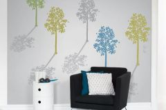 DM214-1 cikkszámú tapéta.Absztrakt,fa hatású-fa mintás,különleges motívumos,rajzolt,retro,természeti mintás,kék,sárga,szürke,zöld,gyengén mosható,vlies poszter, fotótapéta