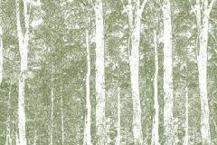 DM216-3 cikkszámú tapéta.Absztrakt,fa hatású-fa mintás,rajzolt,tájkép,természeti mintás,fehér,zöld,gyengén mosható,vlies poszter, fotótapéta
