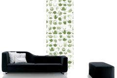 DM218-1 cikkszámú tapéta.Konyha-fürdőszobai,rajzolt,retro,fehér,zöld,gyengén mosható,vlies poszter, fotótapéta