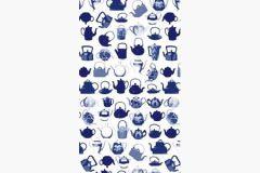 DM218-3 cikkszámú tapéta.Konyha-fürdőszobai,rajzolt,retro,fehér,kék,gyengén mosható,vlies poszter, fotótapéta