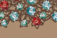 DM219-2 cikkszámú tapéta.Virágmintás,különleges motívumos,rajzolt,kék,türkiz,piros-bordó,barna,bézs-drapp,gyengén mosható,vlies poszter, fotótapéta