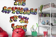 P172901-6 cikkszámú tapéta.Feliratos-számos,gyerek,különleges motívumos,retro,fehér,fekete,kék,lila,narancs-terrakotta,piros-bordó,sárga,zöld,gyengén mosható,vlies poszter, fotótapéta