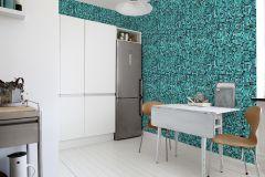 E020501-8 cikkszámú tapéta.Geometriai mintás,kockás,konyha-fürdőszobai,különleges motívumos,rajzolt,retro,fekete,zöld,gyengén mosható,vlies poszter, fotótapéta