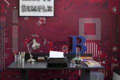 p131301-6 cikkszámú tapéta.Fotórealisztikus,különleges motívumos,metál-fényes,rajzolt,retro,piros-bordó,szürke,gyengén mosható,vlies poszter, fotótapéta