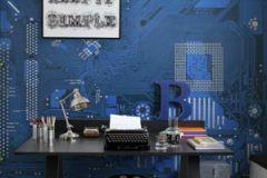 p131302-6 cikkszámú tapéta.Fotórealisztikus,különleges motívumos,rajzolt,retro,kék,szürke,gyengén mosható,vlies poszter, fotótapéta