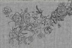 p131601-9 cikkszámú tapéta.Különleges motívumos,rajzolt,természeti mintás,textil hatású,virágmintás,fekete,szürke,gyengén mosható,vlies poszter, fotótapéta