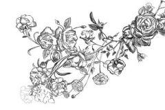 p131602-9 cikkszámú tapéta.Rajzolt,retro,virágmintás,fehér,fekete,gyengén mosható,vlies poszter, fotótapéta