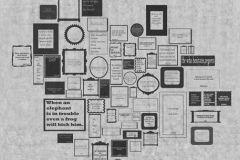 p132201-6 cikkszámú tapéta.Feliratos-számos,geometriai mintás,rajzolt,retro,fehér,fekete,szürke,gyengén mosható,vlies poszter, fotótapéta