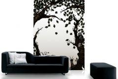 P010101-4 cikkszámú tapéta.Fa hatású-fa mintás,különleges motívumos,rajzolt,retro,természeti mintás,fehér,fekete,gyengén mosható,vlies poszter, fotótapéta