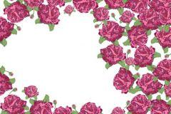 P010301-8 cikkszámú tapéta.Rajzolt,retro,virágmintás,fehér,piros-bordó,zöld,gyengén mosható,vlies poszter, fotótapéta