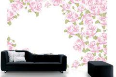 P010304-8 cikkszámú tapéta.Rajzolt,retro,virágmintás,fehér,pink-rózsaszín,zöld,gyengén mosható,vlies poszter, fotótapéta