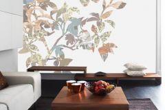 P010502-6 cikkszámú tapéta.Rajzolt,retro,természeti mintás,virágmintás,barna,bézs-drapp,fehér,zöld,gyengén mosható,vlies poszter, fotótapéta