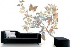 P010503-6 cikkszámú tapéta.Különleges motívumos,rajzolt,retro,természeti mintás,virágmintás,barna,bézs-drapp,fehér,narancs-terrakotta,szürke,zöld,gyengén mosható,vlies poszter, fotótapéta