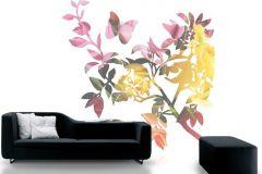 P010504-6 cikkszámú tapéta.Rajzolt,retro,természeti mintás,virágmintás,bézs-drapp,fehér,narancs-terrakotta,pink-rózsaszín,piros-bordó,sárga,zöld,gyengén mosható,vlies poszter, fotótapéta