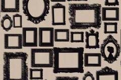 P010603-4 cikkszámú tapéta.Absztrakt,kockás,rajzolt,retro,barna,fekete,gyengén mosható,vlies poszter, fotótapéta