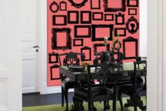 P010604-4 cikkszámú tapéta.Absztrakt,geometriai mintás,kockás,rajzolt,retro,fekete,narancs-terrakotta,piros-bordó,gyengén mosható,vlies poszter, fotótapéta