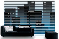 P011102-8 cikkszámú tapéta.Csíkos,konyha-fürdőszobai,különleges motívumos,rajzolt,retro,fehér,fekete,kék,gyengén mosható,vlies poszter, fotótapéta