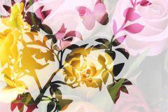 P011301-6 cikkszámú tapéta.Rajzolt,retro,virágmintás,narancs-terrakotta,pink-rózsaszín,piros-bordó,sárga,zöld,gyengén mosható,vlies poszter, fotótapéta