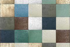 P191602-4 cikkszámú tapéta.3d hatású,fotórealisztikus,geometriai mintás,kockás,különleges motívumos,retro,barna,bronz,ezüst,kék,szürke,zöld,gyengén mosható,vlies poszter, fotótapéta