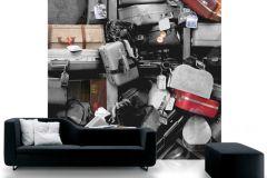 P111201-6 cikkszámú tapéta.3d hatású,fotórealisztikus,gyerek,különleges motívumos,retro,fehér,fekete,piros-bordó,gyengén mosható,vlies poszter, fotótapéta