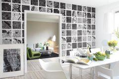 P111401-4 cikkszámú tapéta.Feliratos-számos,gyerek,kockás,rajzolt,retro,tájkép,fekete,fehér,gyengén mosható,vlies poszter, fotótapéta