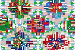 P111901-6 cikkszámú tapéta.Geometriai mintás,feliratos-számos,gyerek,absztrakt,különleges motívumos,rajzolt,fehér,fekete,kék,piros-bordó,pink-rózsaszín,zöld,gyengén mosható,vlies poszter, fotótapéta