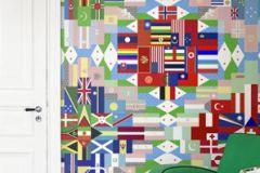 P111901-6 cikkszámú tapéta.Absztrakt,feliratos-számos,geometriai mintás,gyerek,különleges motívumos,rajzolt,fehér,fekete,kék,pink-rózsaszín,piros-bordó,zöld,gyengén mosható,vlies poszter, fotótapéta