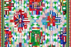 P111902-4 cikkszámú tapéta.Geometriai mintás,absztrakt,különleges motívumos,fotórealisztikus,fehér,kék,piros-bordó,pink-rózsaszín,zöld,gyengén mosható,vlies poszter, fotótapéta