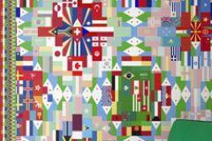 P111902-4 cikkszámú tapéta.Absztrakt,fotórealisztikus,geometriai mintás,különleges motívumos,fehér,kék,pink-rózsaszín,piros-bordó,zöld,gyengén mosható,vlies poszter, fotótapéta