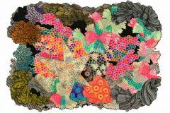P150401-8 cikkszámú tapéta.Absztrakt,geometriai mintás,rajzolt,retro,természeti mintás,barna,kék,narancs-terrakotta,zöld,gyengén mosható,vlies poszter, fotótapéta