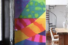 P150501-6 cikkszámú tapéta.Absztrakt,geometriai mintás,gyerek,konyha-fürdőszobai,különleges motívumos,rajzolt,retro,kék,pink-rózsaszín,sárga,zöld,gyengén mosható,vlies poszter, fotótapéta