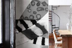 P150502-6 cikkszámú tapéta.Absztrakt,geometriai mintás,konyha-fürdőszobai,rajzolt,retro,fehér,fekete,gyengén mosható,vlies poszter, fotótapéta