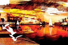 P151301-0 cikkszámú tapéta.3d hatású,absztrakt,rajzolt,retro,tájkép,természeti mintás,fehér,fekete,narancs-terrakotta,piros-bordó,sárga,gyengén mosható,vlies poszter, fotótapéta