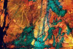 P151801-8 cikkszámú tapéta.Absztrakt,rajzolt,retro,kék,narancs-terrakotta,türkiz,zöld,gyengén mosható,vlies poszter, fotótapéta
