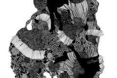 P152201-4 cikkszámú tapéta.Absztrakt,rajzolt,retro,fehér,fekete,szürke,gyengén mosható,vlies poszter, fotótapéta