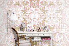 P140401-6 cikkszámú tapéta.Barokk-klasszikus,csipke,természeti mintás,textil hatású,arany,fehér,pink-rózsaszín,gyengén mosható,vlies poszter, fotótapéta
