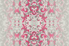 P140403-6 cikkszámú tapéta.Barokk-klasszikus,csipke,rajzolt,természeti mintás,textil hatású,pink-rózsaszín,szürke,gyengén mosható,vlies poszter, fotótapéta