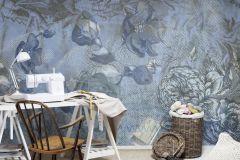 P140801-8 cikkszámú tapéta.Virágmintás,feliratos-számos,természeti mintás,absztrakt,textilmintás,kék,gyengén mosható,vlies poszter, fotótapéta
