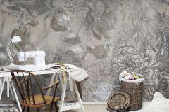 P140802-8 cikkszámú tapéta.Virágmintás,feliratos-számos,absztrakt,textilmintás,barna,gyengén mosható,vlies poszter, fotótapéta
