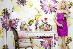 P141601-6 cikkszámú tapéta.Virágmintás,absztrakt,pink-rózsaszín,sárga,gyengén mosható,vlies poszter, fotótapéta