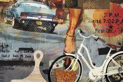 P141801-6 cikkszámú tapéta.Feliratos-számos,különleges motívumos,rajzolt,retro,fekete,kék,narancs-terrakotta,sárga,gyengén mosható,vlies poszter, fotótapéta