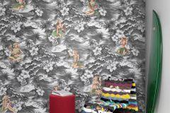P142302-6 cikkszámú tapéta.Rajzolt,retro,természeti mintás,bézs-drapp,fehér,fekete,szürke,gyengén mosható,vlies poszter, fotótapéta