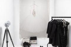 P142501-4 cikkszámú tapéta.Konyha-fürdőszobai,rajzolt,retro,textilmintás,bézs-drapp,szürke,gyengén mosható,vlies poszter, fotótapéta